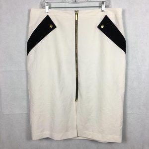 White Moto Zippered Midi Pencil Skirt Sz 18